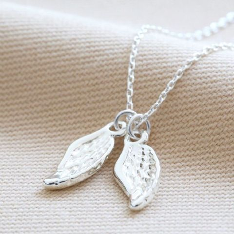 DOUBLE WING CHARM NECKLACE SILVER